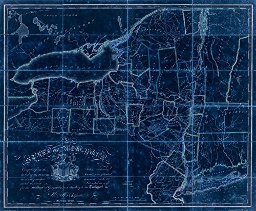 18 x 24 Blueprint Style Reproduced Old Map of: 1808A map of the State of New York : compiled from the latest authorities : including the turnpike roads now granted, as also the principal common roads