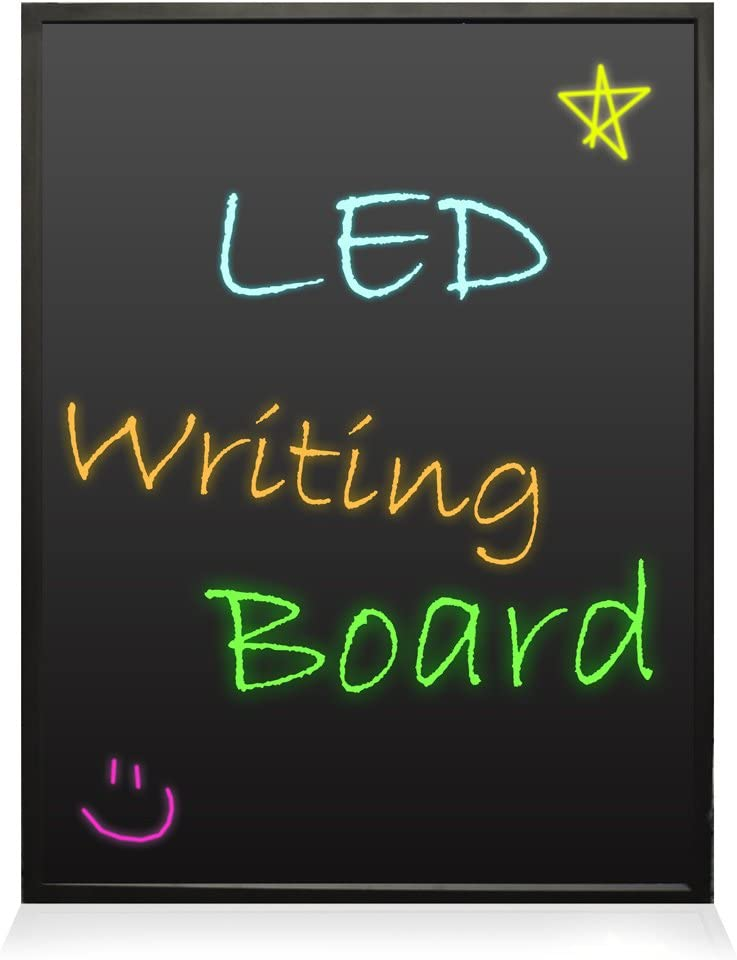 "Pyle PLWB6080 32x24 Neon LED Light Board, Flashing Illuminated Erasable Message Writing Sign with Remote and 8 Fluorescent Markers For Bar, Bedroom, DIY Menu, Back To School Supply and More, 32"" x 24"""