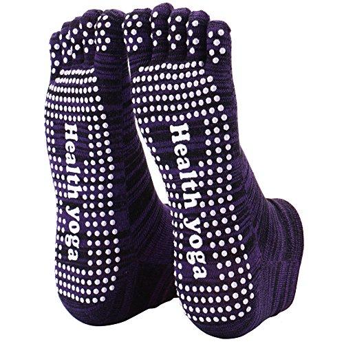 Reehut Non Slip Skid Yoga Socks Toe w/ Grip for Exercise, Barre, Bikram, Pilates & Workout (1 Pair Multicoloured Purple)