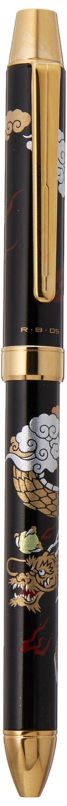 Pilot Mechanical Pencil, 0.5mm + Ballpoint Pen, 0.7mm, Fine, Black and Red, 2+1 Miyabi Emaki, Dragon (BTHM-5SR-R)