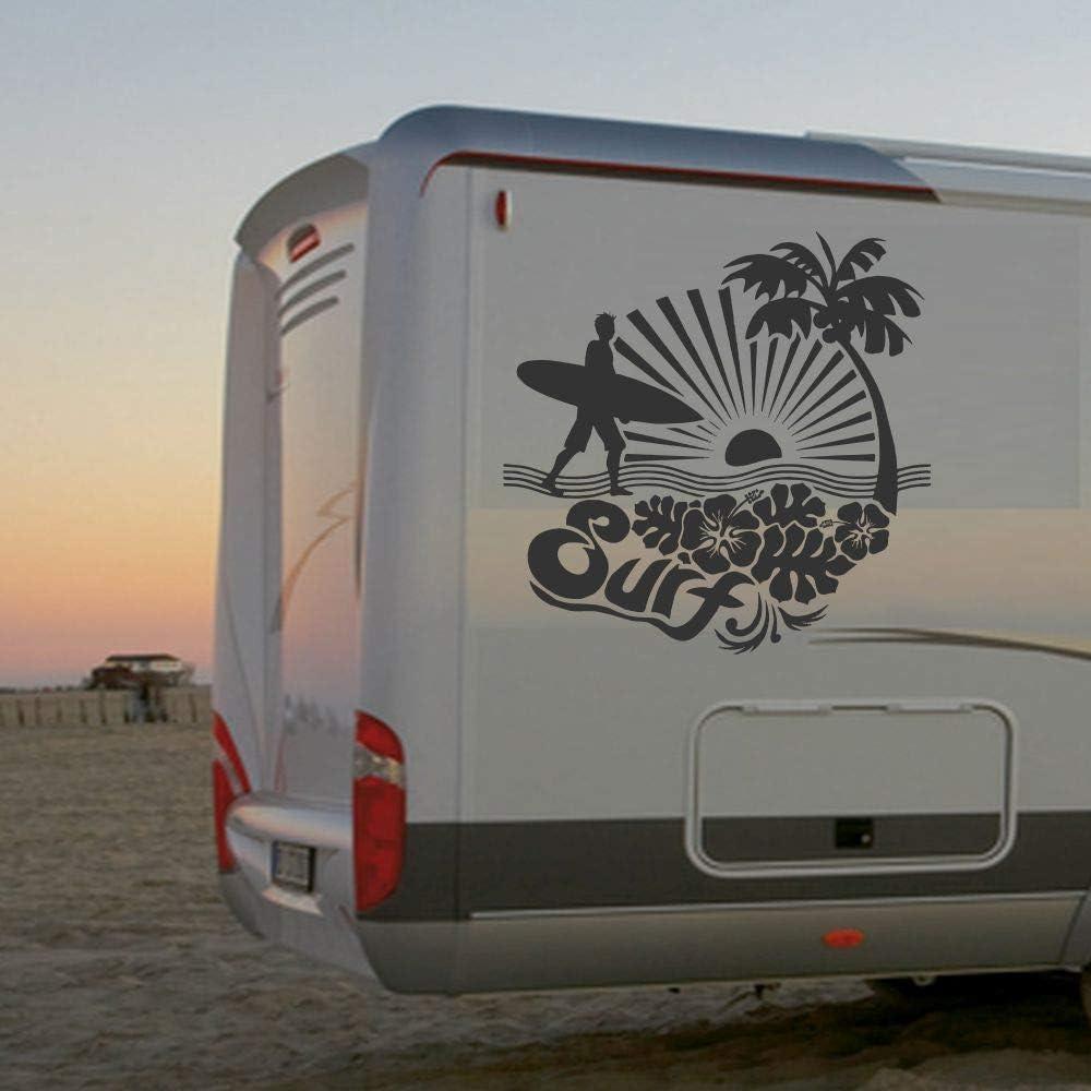 Pegatina Promotion Surfer am Strand Typ10 ca 100cm Palme Sonne
