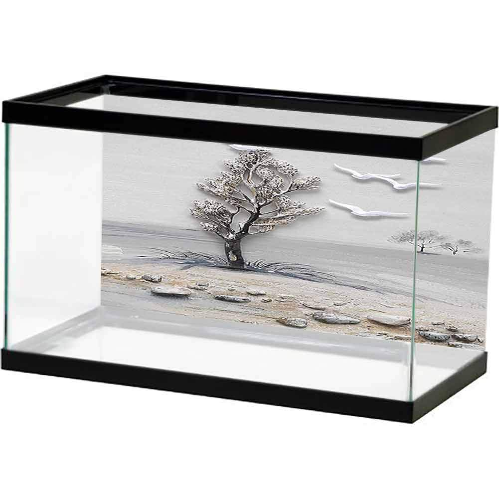 bybyhome Fish Tank Background Poster Wilderness of Sand and Golden Trees, Plus White Birds. Multiple Sizes by bybyhome