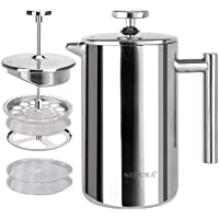 Secura French Press Coffee Maker, 304 Grade Stainless Steel Insulated Coffee Press with 2 Extra Screens, 12oz (0.35…