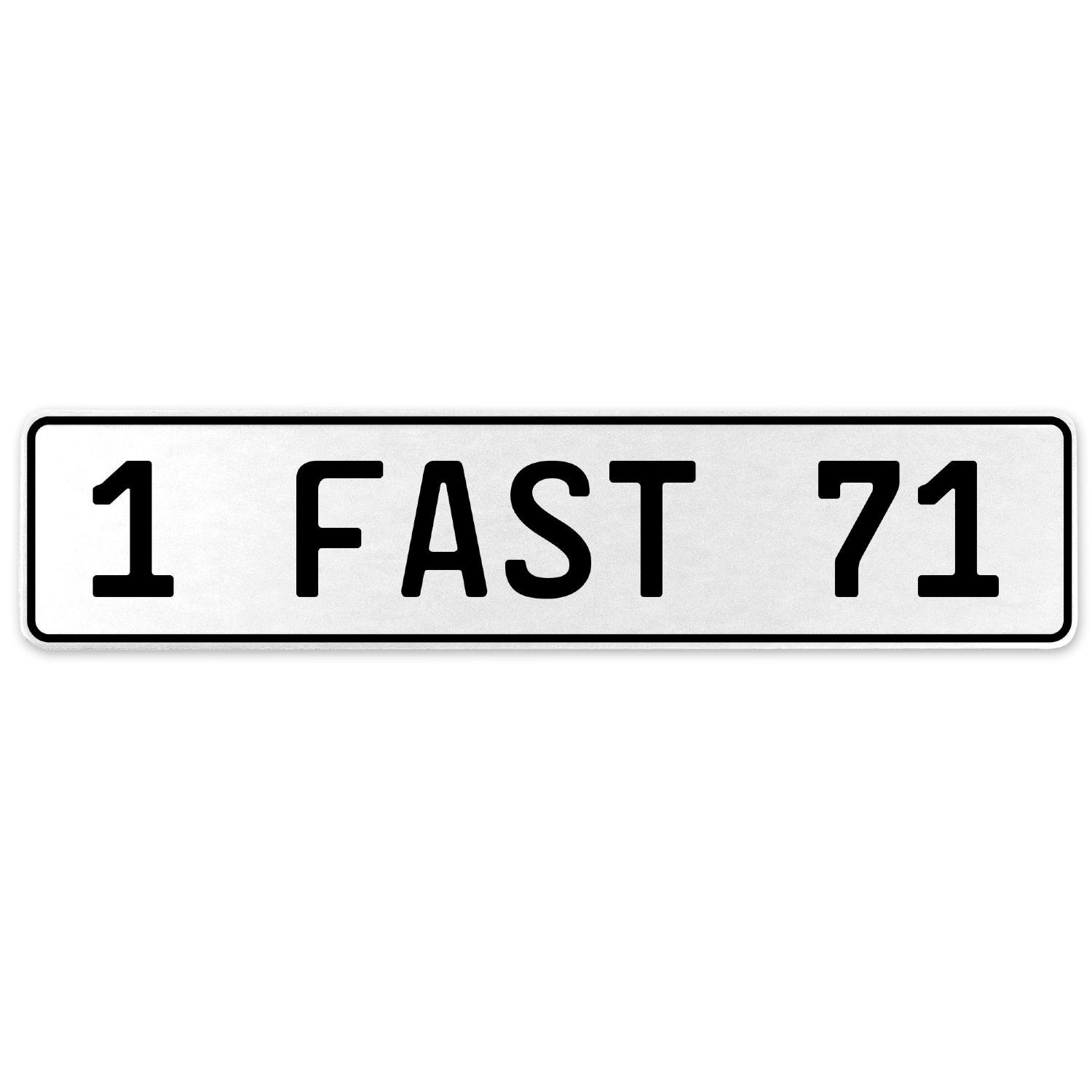 Vintage Parts 557440 1 Fast 71 White Stamped Aluminum European License Plate