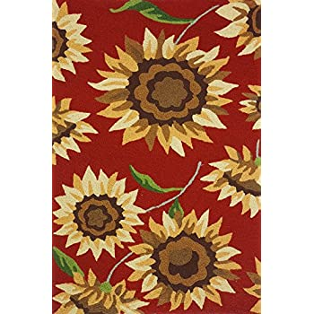 Amazon Com Hand Hooked Sunflower Field Area Rug Kitchen