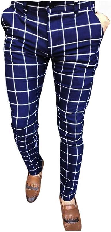 Overdose Pantalon Vestir Hombre Pantalones Pitillo De Corte Slim Estampado Rayas De Negocios Casual Pantalones De Chandal Amazon Es Ropa Y Accesorios