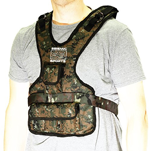 Seismic Sports - SS20VBK - Adjustable Weighted Vest 20 lb Camouflage for Crossfit, HIIT, Strength,  Cross Training and Cardio Exercise by Seismic Sports