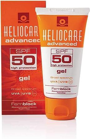 Heliocare Advanced Gel SPF 50 Crema Solar Facial, Textura Gel, Ligera, Rápida Absorción, Antioxidante, Pieles Mixtas o Grasas, No Comedogénica, 50 ml