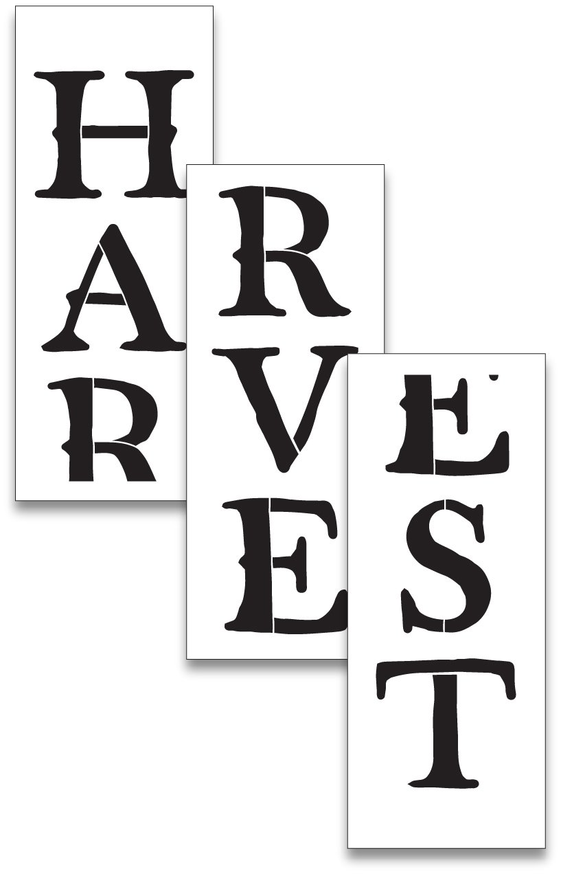 X-Large 72'' Harvest Stencil for Painting on Wood | Reusable Mylar | Ideal for DIY Crafting Tall Vertical Fall and Autumn Word Porch Signs/Rustic Pallet Entrance Signs - 72'' x 12'' 3pc
