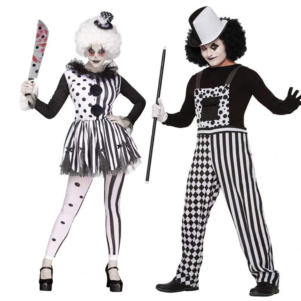 GAOJUAN Neue Halloween Cosplay Kostüm Erwachsene Cosplay Schwarz und Weiß Circus Striped Circus Weiß Clown Rolle Spielen Kostüm Nachtclub Party Kostüm Geeignet Für Karneval Thema Parteien,Style2,L 7ba8c2
