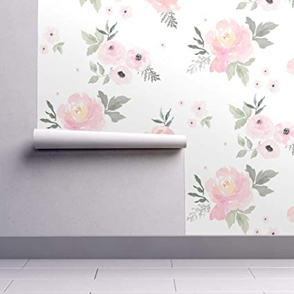 Peel And Stick Removable Wallpaper Blush Baby Girl Floral