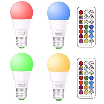 E27 RGB Bombilla LED Luz de estado de ánimo 3W Cambio de color con control remoto
