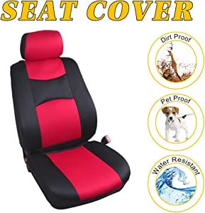OCPTY Car Seat Cover, Stretchy Universal Seat Cushion w/Headrest 100% Breathable Automotive Accessories Durable Washable Mesh Cloth for Most Cars(Red/Black)