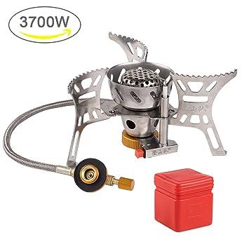 Estufa de gas de camping portátil de 3700 W de gran potencia resistente al viento para ...