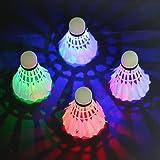 rixow LED Balle de Badminton Shuttle Cock pour les activités Outdoor Indoor Sports, jeu de 4(4couleurs)