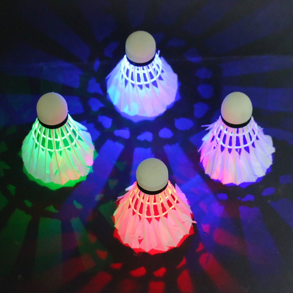 LED Shuttlecock,Rixow LED Shuttlecock in Night -LED Birdies Ball for Badminton Activities Lighting for Outdoor Sports and Indoor, Pack of 4 Lypumso