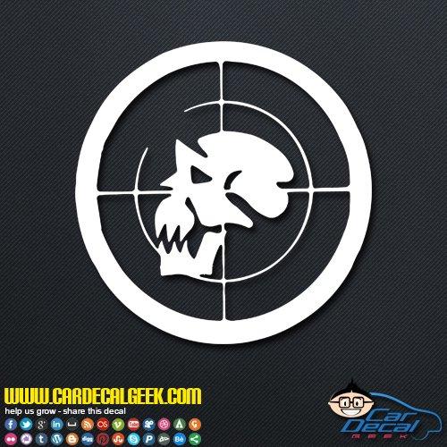 Skull Gun Scope Decal Car & Truck Window Decal Sticker, Laptop Decal Sticker, MacBook Decal Sticker, Wall Decal Sticker, 14-Inch, Gold