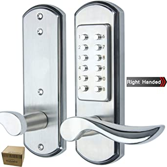 Elemake Keyless Push Button Door Lock Mechanical Right Handed Keypad Entry  Accent Lever Lock Stainless Steel