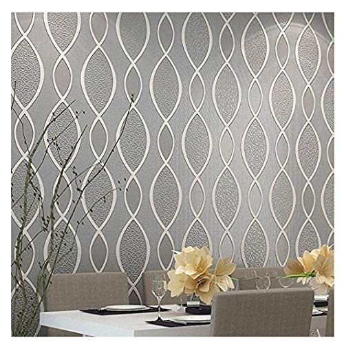 Groovy Blooming Wall Extra Thick Non Woven Modern Leaf Flow Embossed Textured Wallpaper For Livingroom Bedroom 20 8 In32 8 Ft57 Sq Ft Graybeige Interior Design Ideas Gentotryabchikinfo