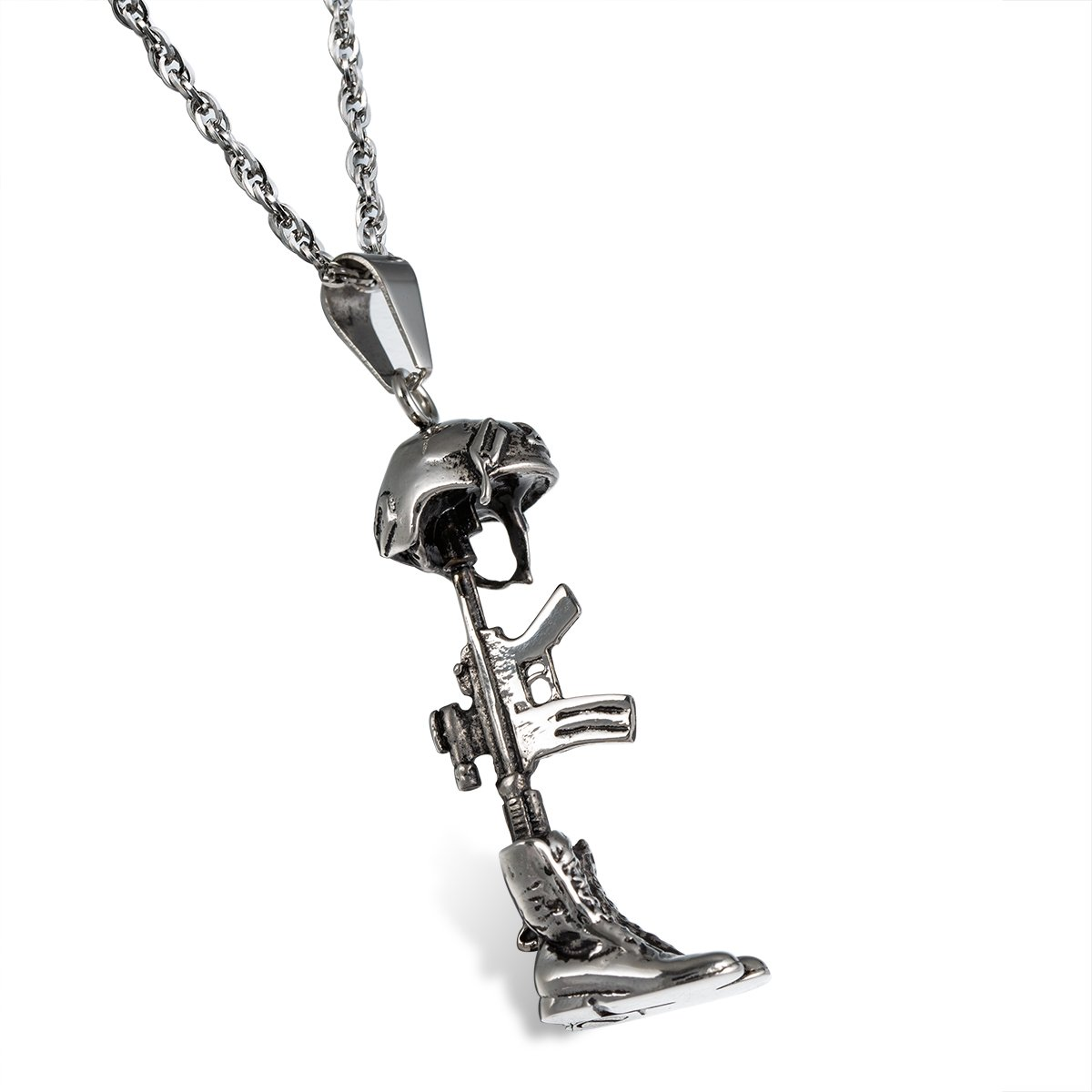 Glimkis Cremation Memorial Ashes Stainless Steel Military Army Navy Soldier Helmet Hat, Gun & Boots Urn Locket Necklace Black