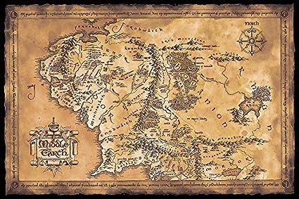 Carte Terre Du Milieu Hd.Poster Le Seigneur Des Anneaux Carte De La Terre Du Milieu