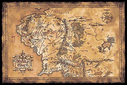 Close Up Poster El Senor de los Anillos - Mapa de la Tierra Media (Oscuro) (91,5cm x 61