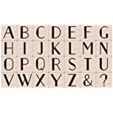 Susy Ratto Brush Letter Alphabet//Upper EK Success Image Tree Wood Handle Rubber Stamp Set