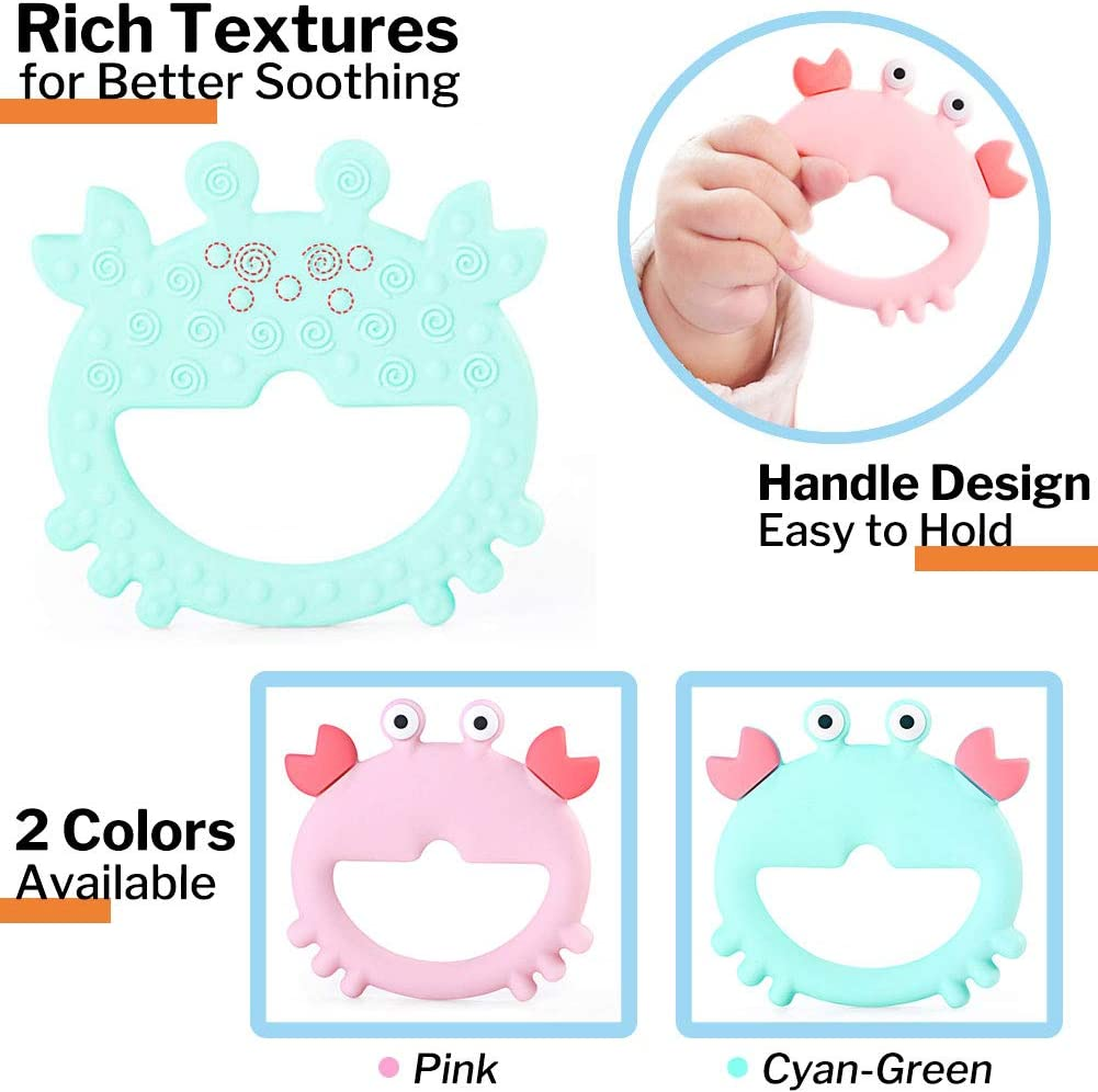 LETTON Cute Crab Silicone Baby Teether Very Cute and Highly Effective Teething Pain Relief Baby Training Massaging Teether Textured Cyan Blue Freezer Safe for 3+ Months Soft