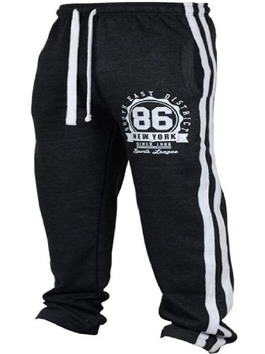 Fubotevic Men Striped Mid Rise Casual Letters Print Patchwork Stretch Knit Athletics Pants