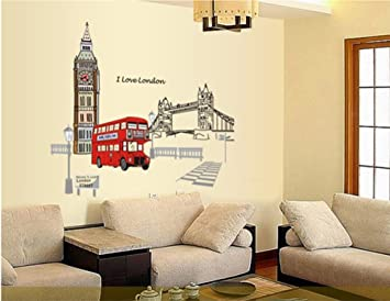 Ufengke® London Big Ben Tower Bridge Wall Decals, Living Room Bedroom  Removable Wall Stickers Part 49