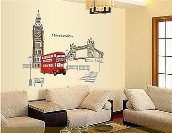 Ufengke® London Big Ben Tower Bridge Wall Decals, Living Room Bedroom  Removable Wall Stickers