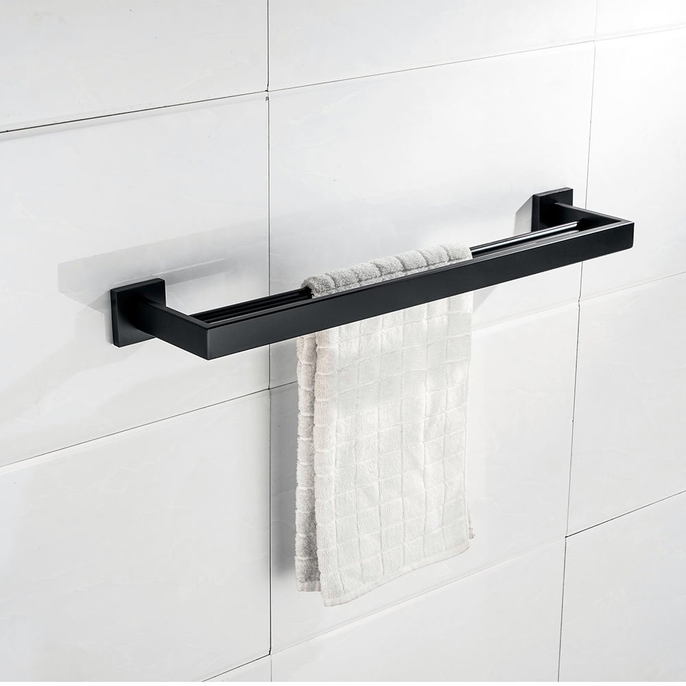 Nolimas Matte Black Bath Towel Bars Double Bars Towel Rack Classic Wall Mounted Stainless Steel Bathroom Towel Bar Kitchen Towel Shelf Double Layer