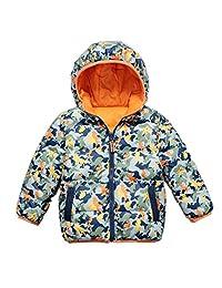 Beide Kid Boys Hooded Duck Down Jacket Camouflage Both Sides Wear Winter Coat