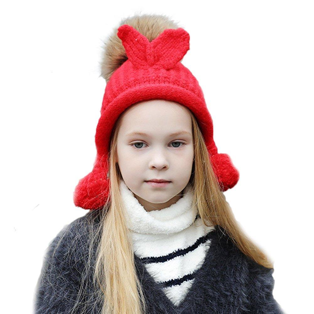 ba0ad7c6535 Amazon.com  BAOBAO Kids Rabbit Ears Knitted Skull Cap Faux Fur Pompom Ball  Winter Beanie  Clothing
