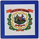 """3dRose Flag of West Virginia - US Farmer Miner Coat of Arms Wreath - Mouse Pad, 8 by 8"""" (mp_159829_1)"""