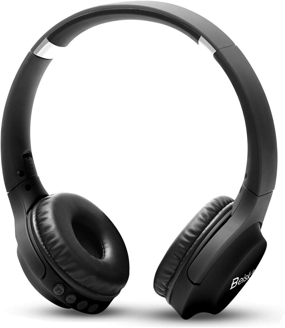 BEISK, Auriculares de Diadema Inalámbricos, Bluetooth, con Micro TF, Calidad De Sonido Estéreo HI-FI, Micrófono Incorporado, Carga Rápida, 10 Metros de Alcance, Cascos Plegables, Negro