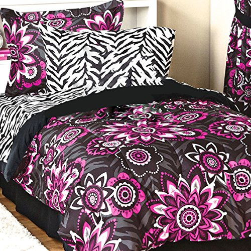 Teen Chic 8pc ROCK STAR Flower Burst Hot Pink and Black FULL SIZE Comforter Set with Safari Zebra Stripe Sheet Set - Flower Burst Comforter