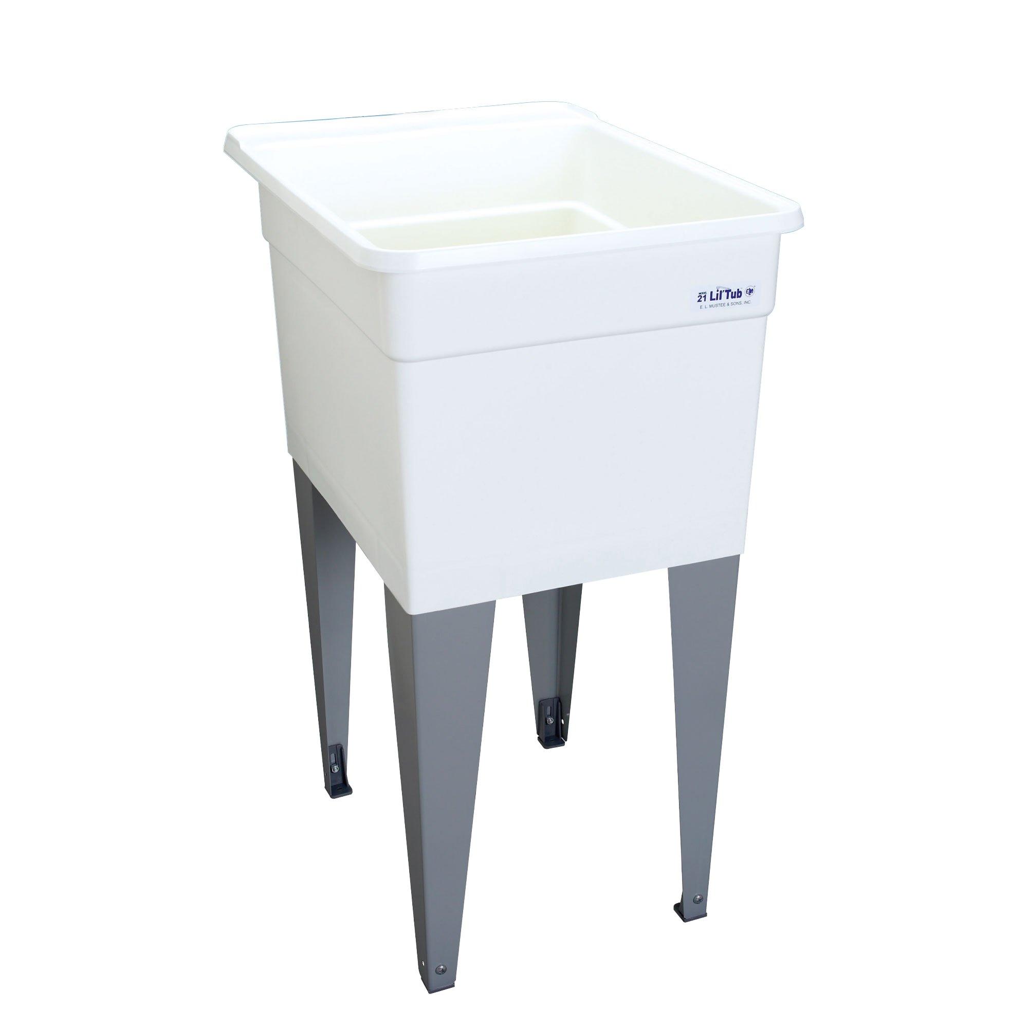 Mustee 21F Lil'Tub Utilatub Laundry Tub Floor Mount, 24-Inch x 18-Inch, White