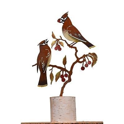 Elegant Garden Design Cedar Waxwing on Cherry - Painted : Garden & Outdoor