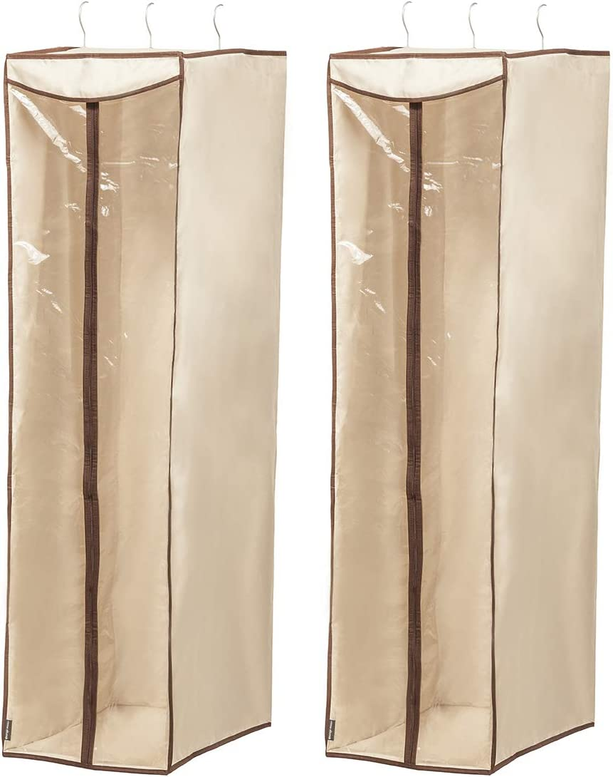 STORAGE MANIAC 2-Pack Hanging Garment Bag for Dresses, Suits, Uniforms, Zipper Cover with Clear Window