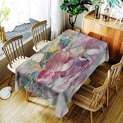 XXANS Tablecloth,Watercolor,Oriental Dance Theme Young Girl Performing in Traditional Costume Fantasy Figure,Dinner Picnic Table Cloth Home Decoration,W52x70L -