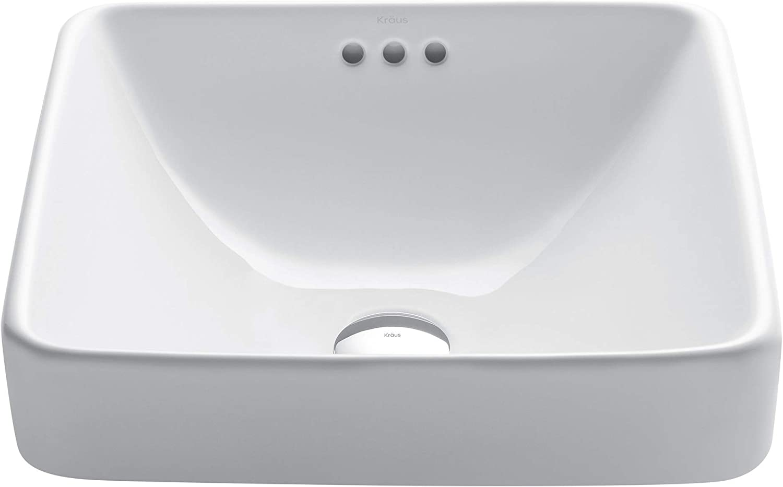 Details about  /Kraus Elavo 16 Inch Round Porcelain Ceramic Vessel Bathroom Sink