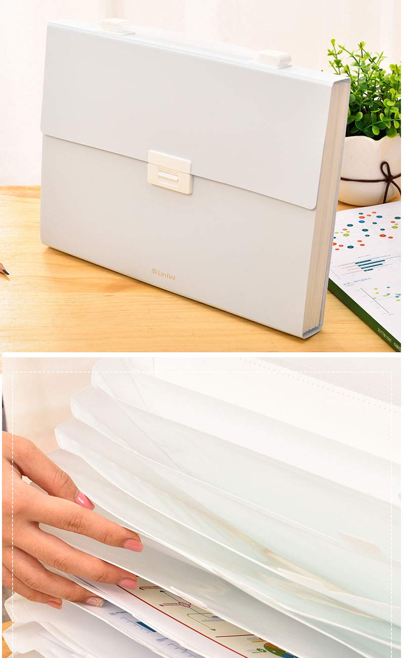 Expanding File Folder, 13 Pockets Accordion Folder with Handle, A4 Size Document Organizer, Plastic File Organizer with Colored Labels for Office/Business/Study/Back to School (Light Blue Cover) by Creative Smart