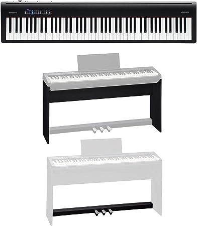 Roland Roland FP-30 Piano digital (negro) – Paquete con soporte personalizado Roland KSC-70, unidad de pedales Roland KPD-70
