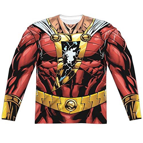 Shazam Costumes (Costume -- Shazam -- DC Comics All-Over Long-Sleeve T-Shirt, Large)