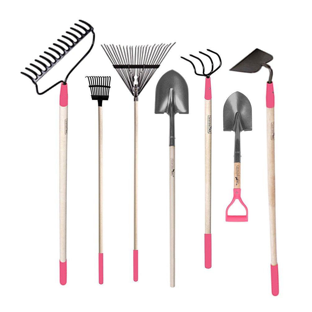 GardenAll 7-Pieces Women Garden Tools Set- Include 14Tine Bow Rake/11T Steel Rake/24T Steel Rake/Round Point Shovel/4 Tine Cultivator/Mini Round Point Shovel/Forged Garden Hoe