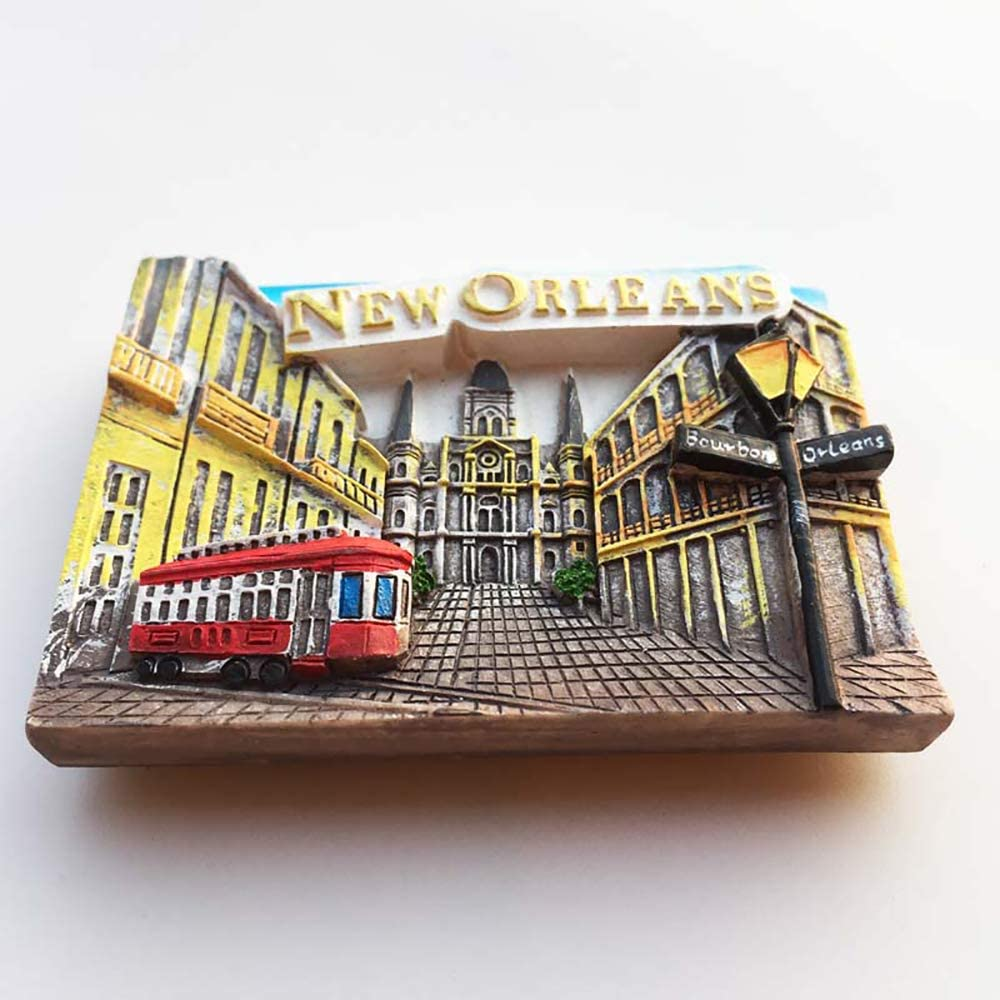 New Orleans 3D USA Refrigerator Magnet Souvenirs Handmade Resin Magnetic Stickers Home Kitchen Decoration,New Orleans Fridge Magnet Collection Gift