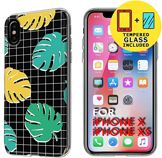 Amazon Com Talkingcase Phone Cover For Apple Iphone X Xs Xs Aesthetic Tropical Leaves Print Light Weight Ultra Flexible Anti Scratch Tempered Glass Screen Protector Included Designed And Printed In Usa Silhouettes of evergreen compound leaves, different shapes, leaves made of thin curved lines. amazon com