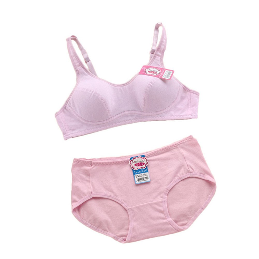 MANJIAMEI Puberty Girls Kids Padded Bras And Matching Pants Sets Kids Training Underwear Sets