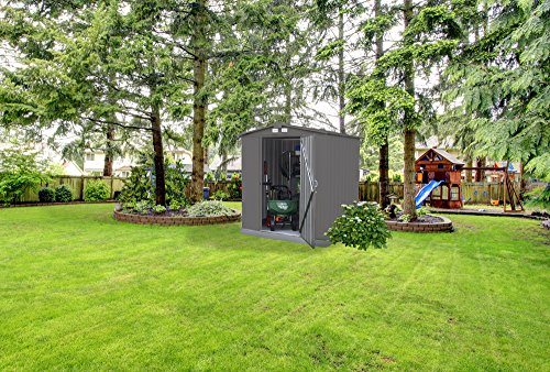 Garden and Outdoor Arrow 6′ x 5′ EZEE Galvanized Steel Low Gable Shed Charcoal, Storage Shed with Peak Style Roof outdoor storage sheds